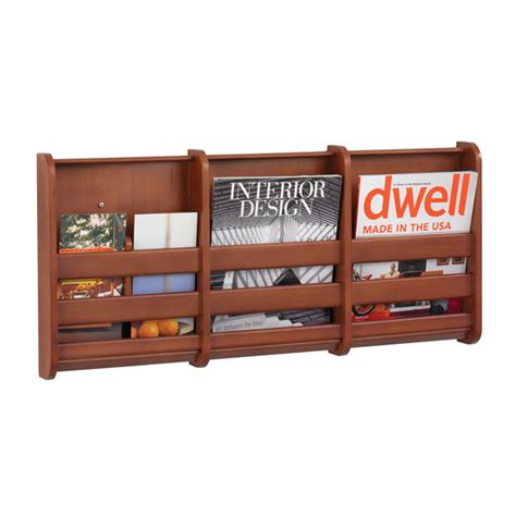 Magazine Wall Racks by 3 Pocket Bamboo Wall Mount Magazine Display Rack Cherry
