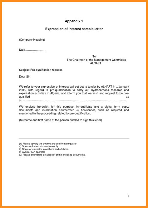 letter of interest template for a expression of interest template memo exle