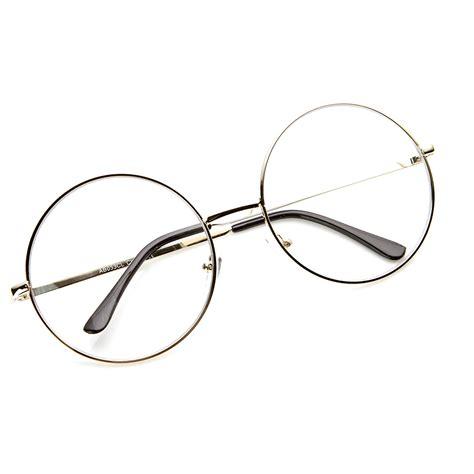 large oversized metal frame clear lens circle eye