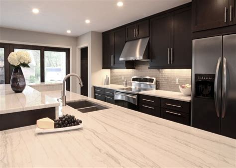 nice looking gray square marble top kitchen island with contemporary kitchen design with espresso stained kitchen