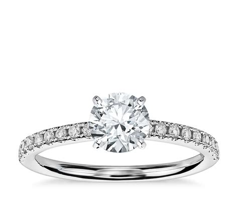 Pave Ring by Riviera Pav 233 Engagement Ring In 14k White Gold 1
