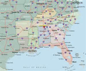 map of se florida alabama florida south carolina and tennessee