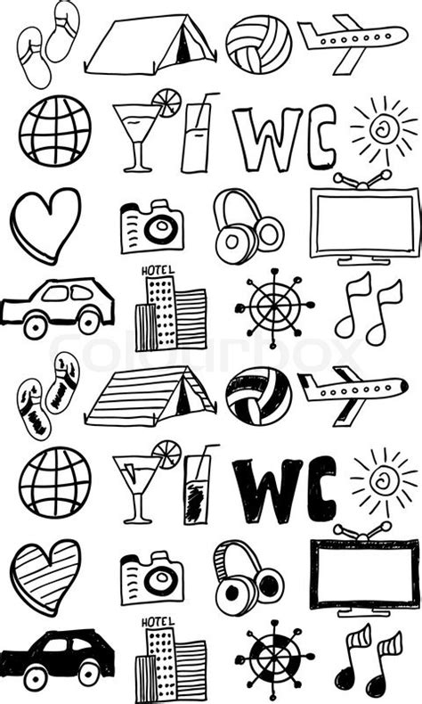 travel doodle free vector travel icons set doodles stock vector