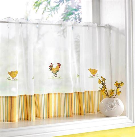 How To Make Cafe Curtains For Kitchen Chickens Roosters Voile Cafe Net Curtain Panel Kitchen Curtains
