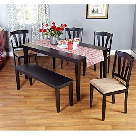 metropolitan 6 piece dining set with bench espresso metropolitan brown espresso or black 6 piece dining set