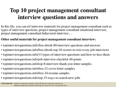 top 10 project management consultant questions and answers