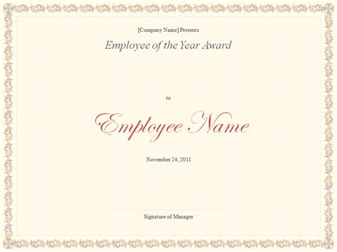 employee award certificate templates free employee of the year award template
