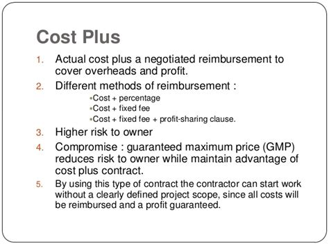 Contracts And Its Types Cost Plus Building Contract Template