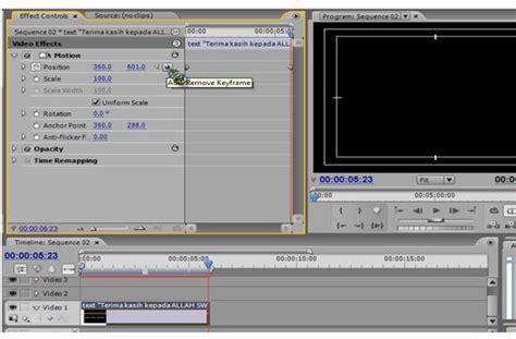 membuat watermark di adobe premiere geser bagian set marker ke frame akhir detik akhir text