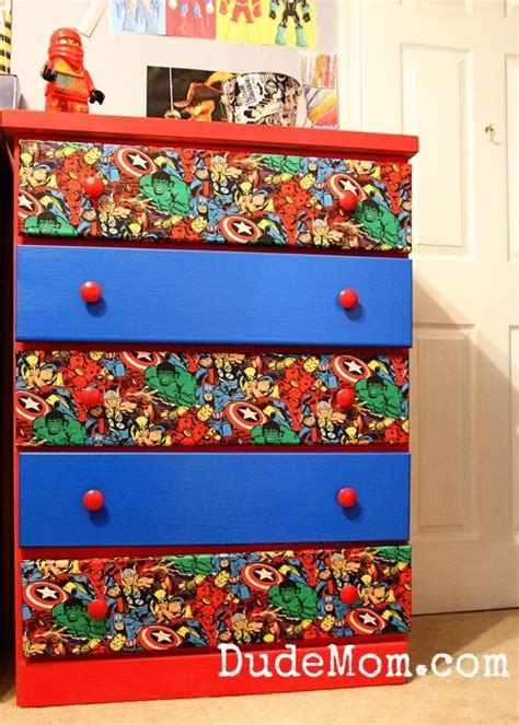 Boys Room Ideas Diy Superhero Dresser Makeover Fabric