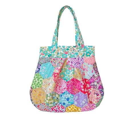 Patchwork Bag Pattern - liberty hexagon patchwork bag pattern instant