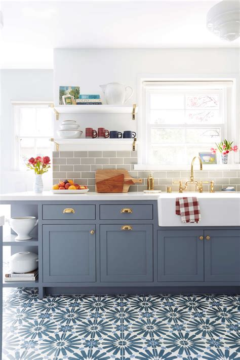 painting on pinterest painted kitchen cabinets kitchen emily henderson blue grey kitchen with concrete tiles in