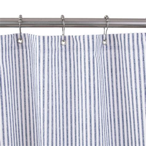 striped shower curtains cotton duck shower curtain blue tick stripe bathroom