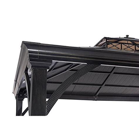 10 X 10 Gazebo Mat - sunjoy 12 x 10 two tier hardtop gazebo matt black poles