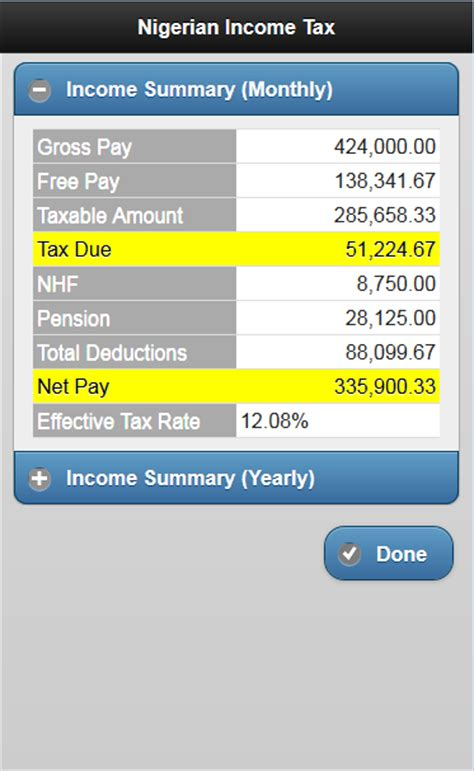 nigeria tax net pay calculator android apps on play