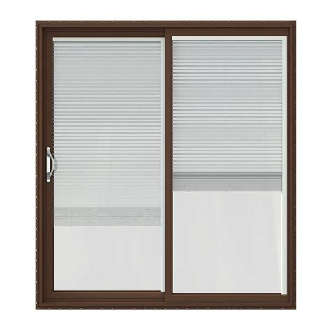Jeld Wen Sliding Patio Doors With Blinds Jeld Wen 72 In X 80 In V 2500 Series Vinyl Sliding Patio Door With Blinds Jw1815 00168 The