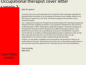 Occupational Therapist Cover Letter by Occupational Therapist Cover Letter