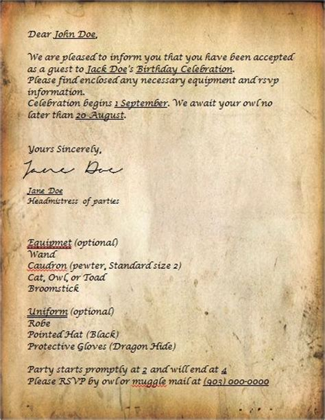 Harry Potter World Acceptance Letter The World S Catalog Of Ideas