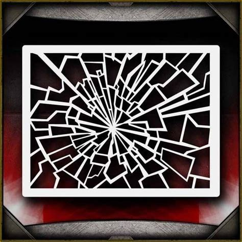 Shattered Glass 2 Airbrush Stencil Template Paint Airsick Ebay Window Painting Templates