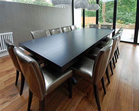 dining table in oak stained grey dining room
