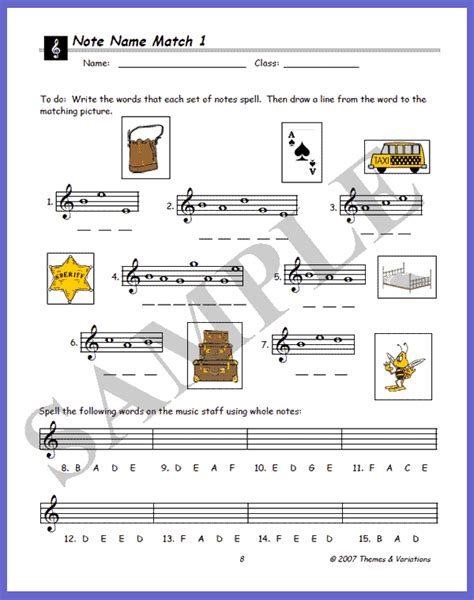 Note Name Worksheet by Note Name Match Worksheet For Practicing The Names Of