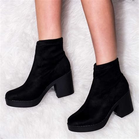 Platform Block Heel Ankle Boots black ankle boots shoes from spylovebuy