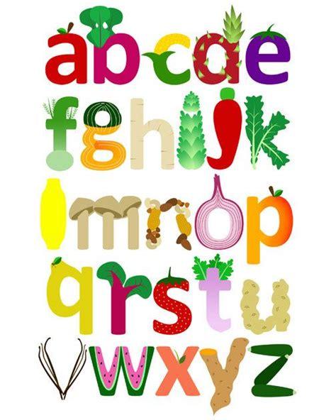 fruit 12 letters vegetable letters clipart 12