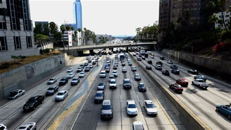 truck jam los angeles los angeles circa july 2013 lapse of traffic jam