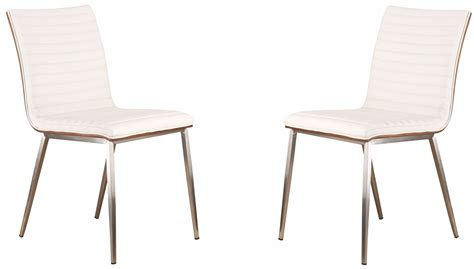 brushed stainless steel dining chairs cafe brushed stainless steel white dining chair set of 2