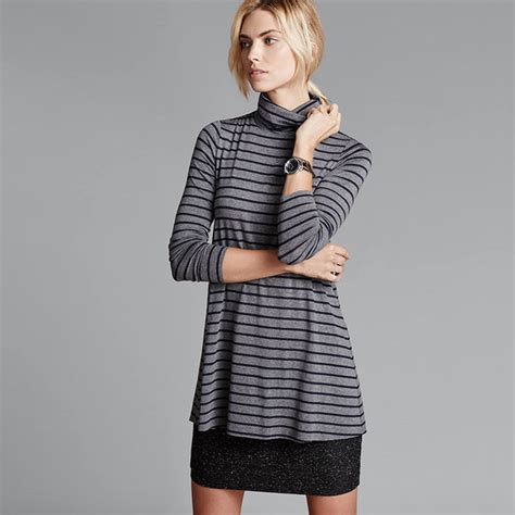 Mini Dress Turtle Neck Korea Motif Chevron Hitam P Diskon 1 Wholesale Cheap Korean Turtle Neck Striped Patchwork