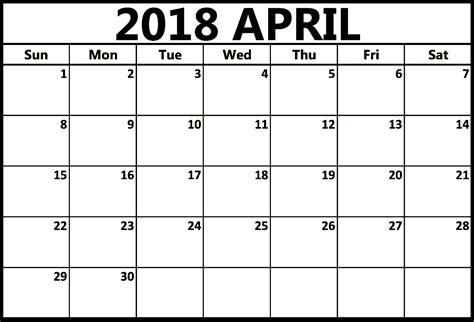 april 2018 calendar april 2018 calendar template printable