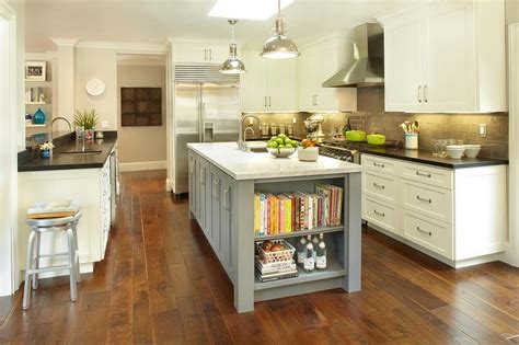 gray kitchen island gray center island with cookbook shelves transitional