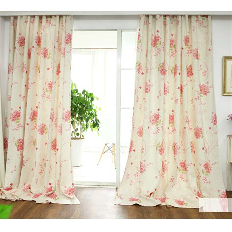Pink Cotton Curtains Fresh Linen Cotton Pink Print Floral Curtains