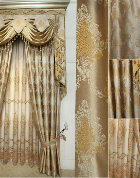 drape sets elegant jacquard craft faux silk gold color of thick
