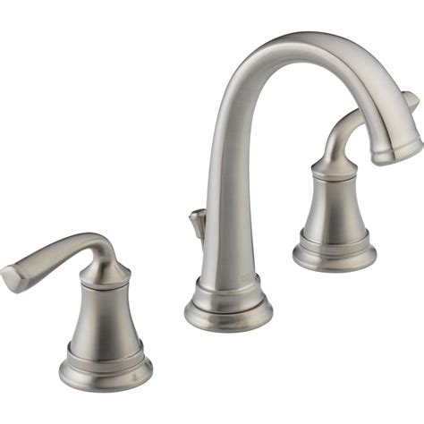 kitchen sink faucets lowes shop delta lorain stainless 2 handle widespread watersense bathroom sink faucet drain included