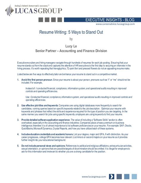 resume writing 5 ways to stand out