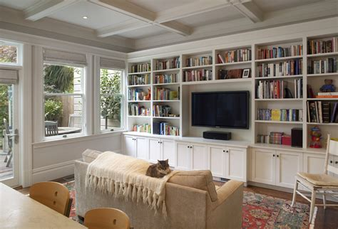 Houzz Family Room Family Room Rustic With Exposed Beams Houzz Built In Bookshelves