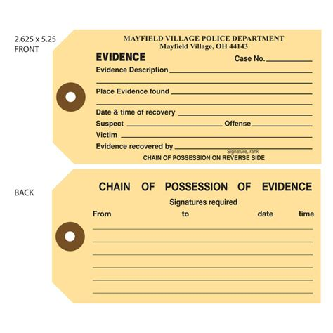 printable evidence labels custom printed evidence hang tags st louis tag