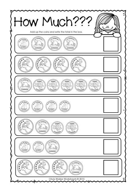 canadian money worksheets printables kindergarten