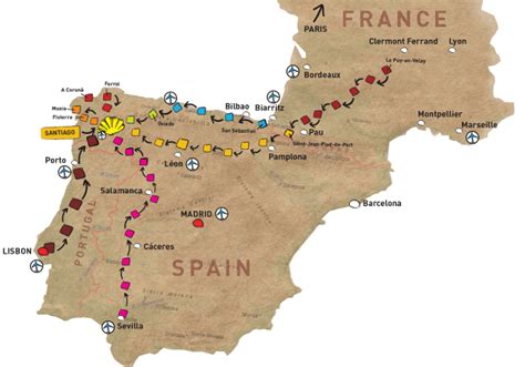 camino de santiago route map camino tours map routes of the camino de santiago tours