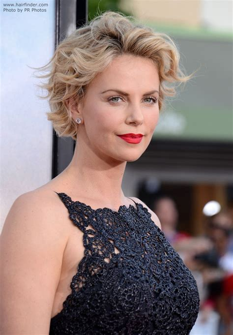 hair cuts away from face charlize theron short curled hairstyle with the hair
