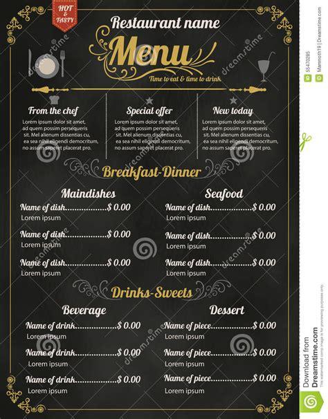 beautiful menu restaurant food menu design with chalkboard background