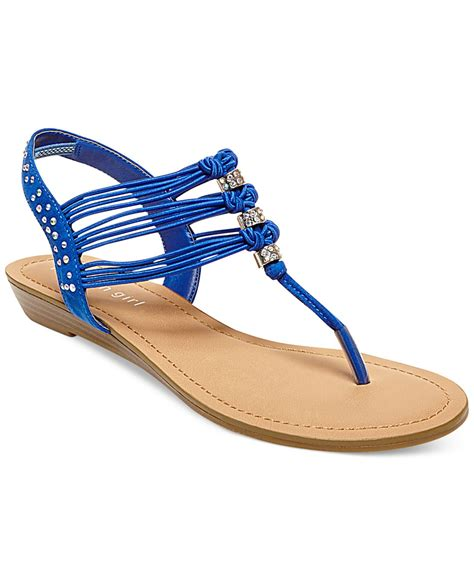 blue sandals madden thrill t flat sandals in blue lyst