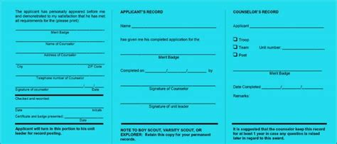 merit badge blue card template boy scout merit badge blue card image search results