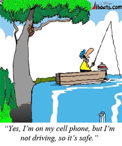 talking boats cartoon talking on cell phones while boating