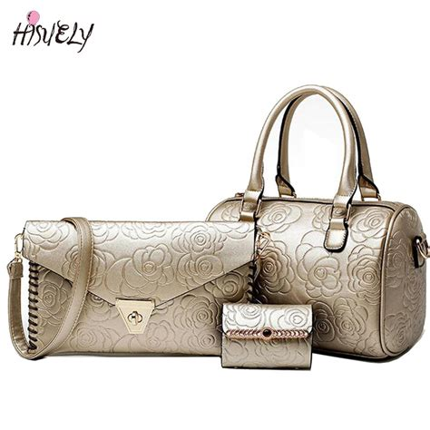 Best Seller Handbag Flower Tricolor 2017 sale 3 pieces handbags sets purses and handbags leather flower floral embossed