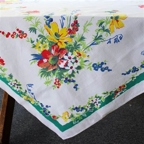 Vintage Linen Tablecloth Flowers Table Cloth Printed Cotton Vintage Table Cloth
