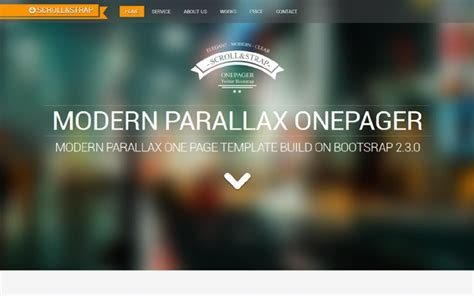 parallax template scroll modern parallax one pager bootstrap