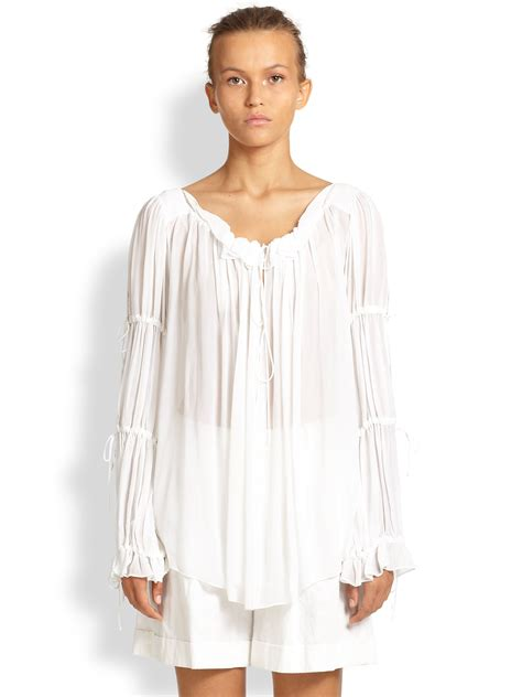 Blouse Peasant michael kors crepe peasant blouse in white lyst