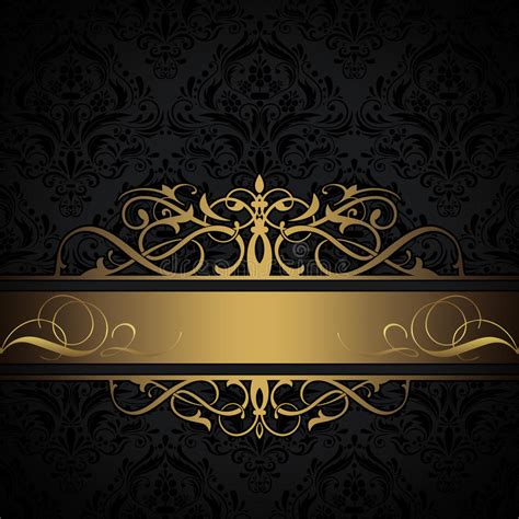 black elegant pattern black and gold decorative background stock illustration